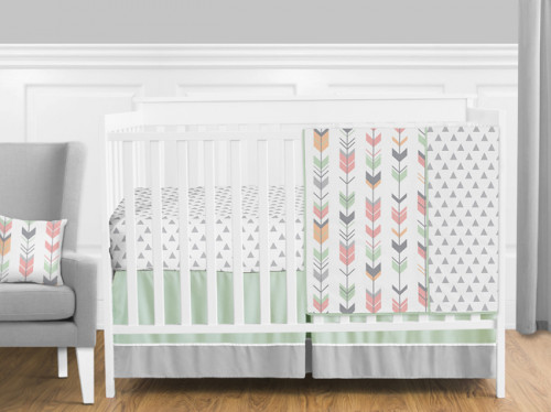 Mod Arrow Grey, Coral and Mint 11 Piece Bumperless Crib Bedding Collection
