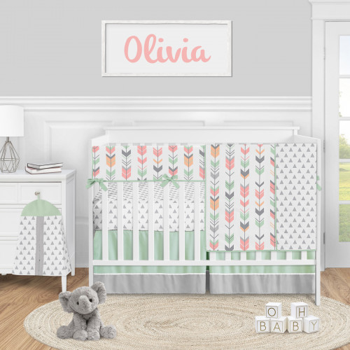 Mod Arrow Grey, Coral and Mint Collection 5 Piece Crib Bedding