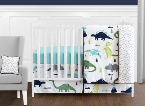 Mod Dinosaur Blue and Green 11 Piece Bumperless Crib Bedding Collection