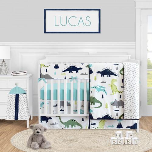Mod Dinosaur Blue and Green 5 Piece Crib Bedding