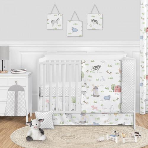 Farm Animals Collection 11 Piece Bumperless Crib Bedding