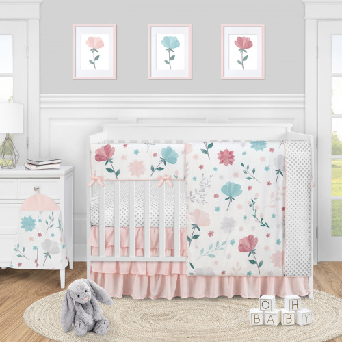 Pop Floral Pink and Blue Collection 5 Piece Crib Bedding