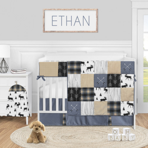 Rustic Patch Blue and Tan Collection 5 Piece Crib Bedding