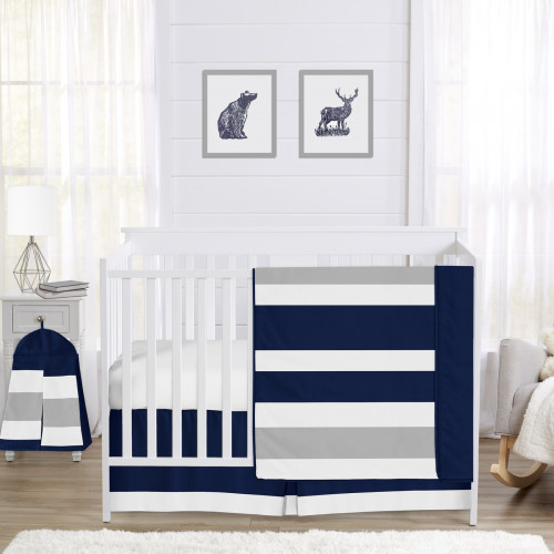 Stripe Navy and Gray Collection 4 Piece Crib Bedding