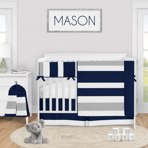 Stripe Navy and Gray Collection 5 Piece Crib Bedding