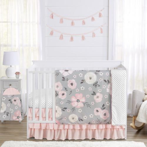 Watercolor Floral Grey Collection 4 Piece Crib Bedding