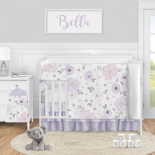 Watercolor Floral Lavender and Grey Collection 5 Piece Crib Bedding