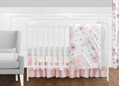 Watercolor Floral Pink and Grey 11 Piece Bumperless Crib Bedding Collection