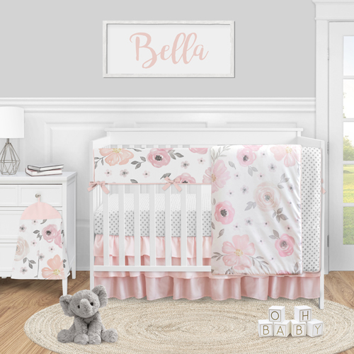 Watercolor Floral Pink and Grey Collection 5 Piece Crib Bedding