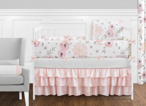 Pink and Grey Watercolor Floral  9 Piece Crib Bedding Collection