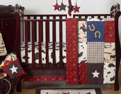 Wild West Cowboy 11 Piece Bumperless Crib Bedding Collection