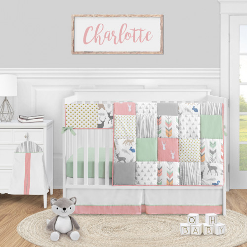 Woodsy Coral, Mint and Grey Collection 5 Piece Crib Bedding