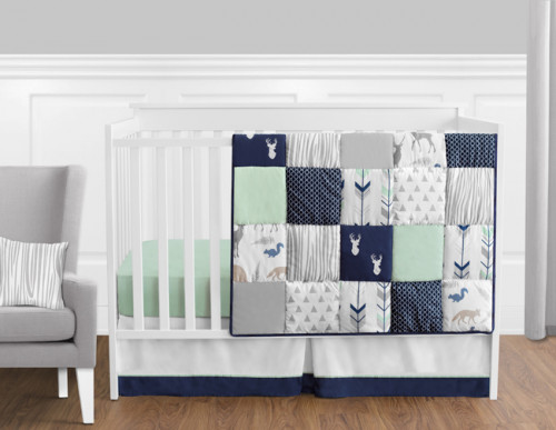 Woodsy Navy, Mint and Grey 11 Piece Bumperless Crib Bedding Collection