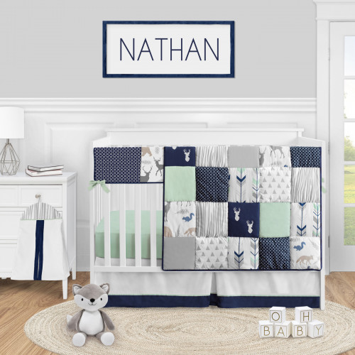 Woodsy Navy, Mint and Grey Collection 5 Piece Crib Bedding